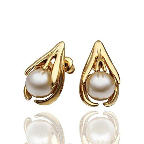 Gnzoe Gioielli 18K Oro Placcato Stud Orecchini Donna Rotondo Pearl Claws Eco Amichevole