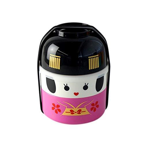 Snow Island japanischen Stil, Cartoon Sushi Bento Case Aufbewahrung Jungen Mädchen Kinder Lover Double Layer mit Schale Lunchbox Meal Prep Food Behälter 850ml Pink Girls Bento Lunch Box Case