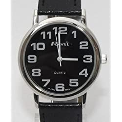 GENTS RAVEL EASY READ BLACK WATCH WITH EXTRA LONG (21cm) BLACK STRAP AND CHROME CASE (R0105.07.1)