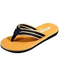 Sandalias para hombre, RETUROM Moda Hombre Stripe interior y al aire libre plana baño zapatilla sandalias de playa (41, negro)
