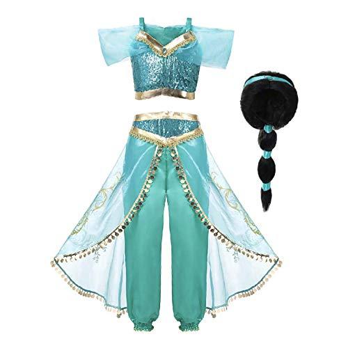 Mooler Princesse Jasmine Costume Cosplay Conte de Fée pour Enfant Déguisements Filles Soirée Carnaval Halloween (140cm(7-8 Ans), Bleu + wig