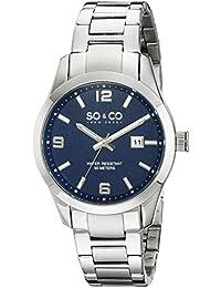 So y de Nueva York Madison Co para hombre reloj infantil de cuarzo con azul esfera analógica y plateado correa de acero inoxidable de 5051,2