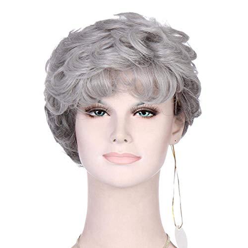 YZ-YUAN Lockige Kurze Perücke der silbernen Graue Haarteil hitzebeständige synthetische Frau alte Damen für Fancy Dress der älteren Perücke