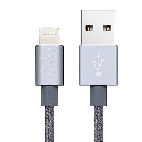 iPhone Câble (2m) de données ultra rapide Lightning–Extra forte renforcé avec retour de billets garantizado pour l'iPhone 5, 5S, 5C, 6, 6S, iPad Air Air 2, iPad mini et iPad Pro–Couleur du gris