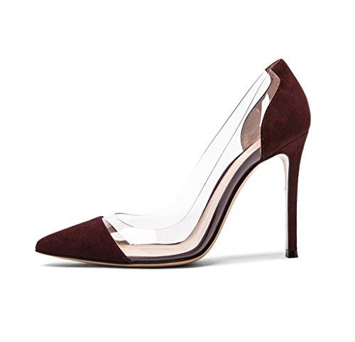 Edefs - Talons Pour Femmes - 12cm - Talons Hauts - Chaussures À Talons Transparents - Talon Stiletto Bordeaux