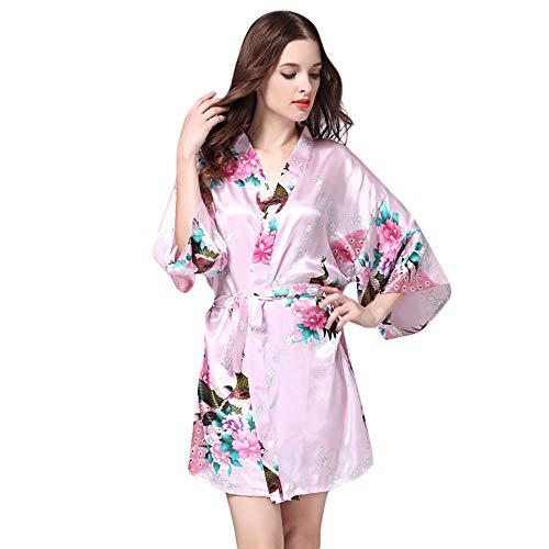 39cc704cf0a5c KEERADS Peignoir Satin Robe de Chambre Kimono Femme Sortie de Bain Nuisette  Déshabillé Vêtements de Nuit
