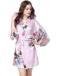 e491efa0adfd0b OverDose Damen Frauen Damen Gedruckt Nachtwäsche Halbe Hülsen Nachtwäsche  Satin Startseite Tägliche Freizeit Luxus Top Pyjama…