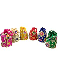 GoldGiftIdeas Women's Potli (Set of 6) (GGIPBG-139_Multicolored)