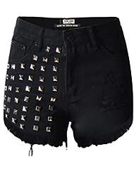 Wgwioo Rivet Taille Haute De Femmes Denim Hot Pants Sexy Mini Shorts Jeans Night Club