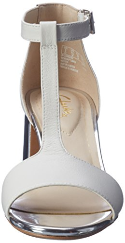 Clarks Damen Barley Belle T-Spange Weiß (White Combi Lea) lWHzB9Aa