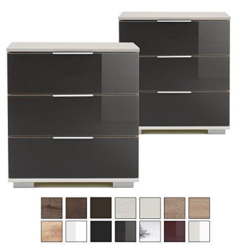 e-combuy Möbel | 2er Set Nachtschrank NIGO, 3 Schubladen, Höhe 58 cm, Nachtkonsole für Boxspringbett, Glas-Front grau, weiß
