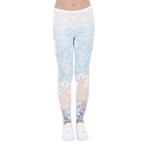 Hanessa Frauen Leggins Blau Türkis Bedruckte Leggings Hose Frühling Sommer Kleidung Mandala L54
