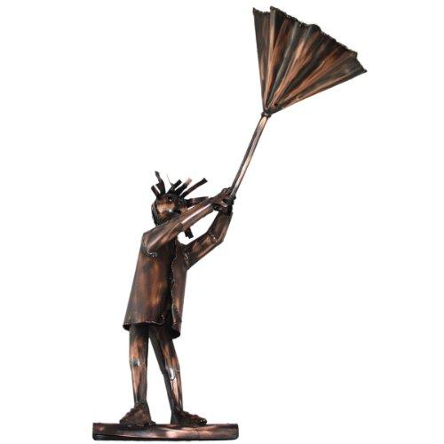 Kupferfigur Mann mit Regenschirm für die Dachrinne, 56 cm