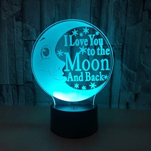 DHYWGS Schlummerleuchten Bunte 3D Lampe Illusion led nachtlicht USB tischlampe für Kinder Baby Kinder Geschenk Nacht Schlafzimmer mond Lampe Weihnachtsbeleuchtung
