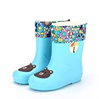 Kids Jelly Rain Shoes Fashion Cuff Rain Boots Fleece-Lined Winter Shoes Skye Rain Wellies Snowproof Watherproof Lightweight Comfortable Breathable Casual