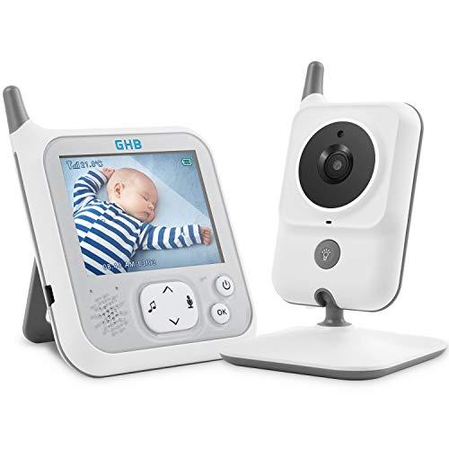 GHB Babyphone 3,2 Zoll Smart Baby Monitor mit Video Talk Back TFT LCD Bildschirm Nachtsichtkamera und Temperaturüberwachung Nachtlicht VOX (Verpackung MEHRWEG)