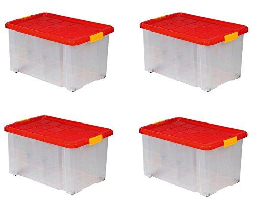 Lot de 4 boîtes de rangement plastique sur...
