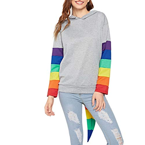 Chejarity Damen Kapuzenpullover Lang Pullover Pulli Freizeit Sport Hoodie Sweatshirt Rundhals Rainbow Gestreiftes Patchwork Langarmshirt Sweater Herbst Winter Streetwear Outwear (S, Grau) -