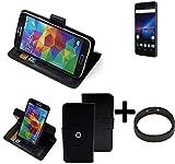 K-S-Trade® Hülle Schutzhülle Case Für -Phicomm Passion 4- + Bumper Handyhülle Flipcase Smartphone Cover Handy Schutz Tasche Walletcase Schwarz (1x)