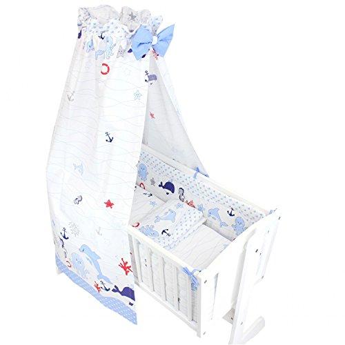 TupTam Unisex Baby Wiegen-Bettwäsche-Set 6-TLG, Farbe: Ozean Blau, Anzahl der Teile:: 6 TLG. Set