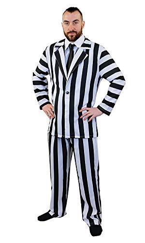 ILOVEFANCYDRESS Gestreifter Anzug, Halloween-Kostüm für Herren, Schwarz und Weiß gestreift, Hemd Vorne + Schwarze Krawatte (Beetlejuice Für Erwachsene Herren Kostüm)