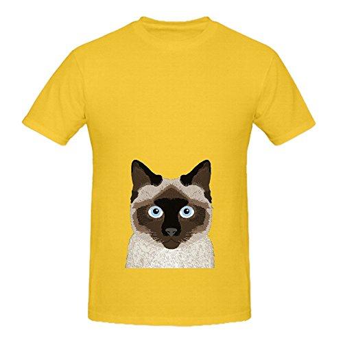 Ezra Siamese Cat Cute Kitten Retro Cat Art Mens Crew Neck Custom Tee XX-Large