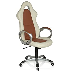 hjh OFFICE 621830 silla gaming RACER SPORT ELEGANCE piel sintética crema / marrón silla de escritorio