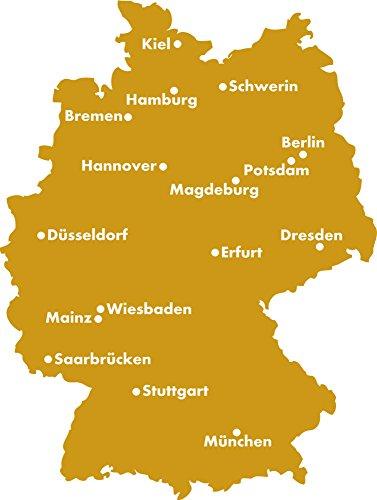 GRAZDesign 630371_50_820 Wandtattoo Sticker für Wohnzimmer Büro Deutschland Karte Umriss Städte Hauptsta (66x50cm//820 Mustard)