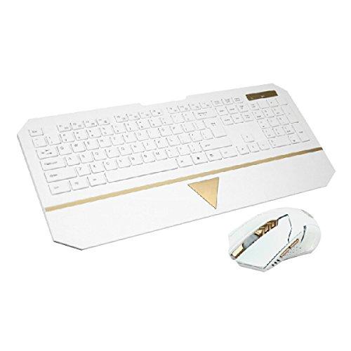 OGEOU Computerspiele Internet-Spiele Drahtlose Tastatur Und Maus-Set {weiß Schwarz} Von Hinten Beleuchtet,White (Drahtlose Von Hinten Beleuchtete Tastatur Maus)