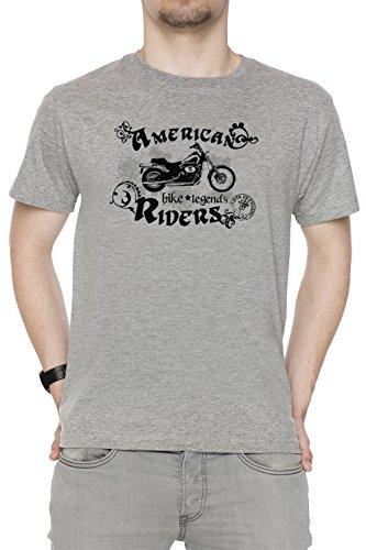 American Riders Uomo T-shirt Grigio Cotone Girocollo Maniche Corte Grey Men's T-shirt