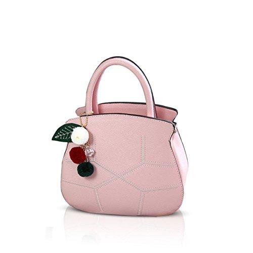 NICOLE&DORIS Elegant Schön Frauen Handtaschen Umhängetasche Damenhandtaschen Henkeltaschen Schultertaschen Shopper iPad Bag Wasserdicht PU Schwarz Hell-Pink