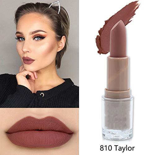 Wasserdichter Lippenstift Matt 14 Farben langlebiger Antihaft-Becher Lippenstift Lippen Makeup Shimmer Lippenstift Kosmetik (4g, Rose 810#) 810 Rosen