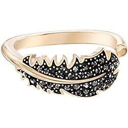 Bague Swarovski motif Naughty, cristal noir, métal doré rose, pour femme