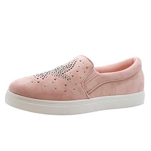 Saute Styles Plimsolls Femme Pink Diamante Skater