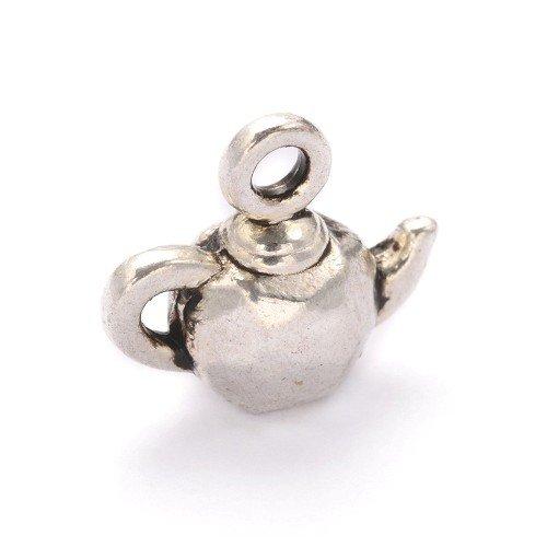 Paket 10 x Antik Silber Tibetanische 12mm Charms Anhänger (Teekanne) – (Y09010) – Charming Beads