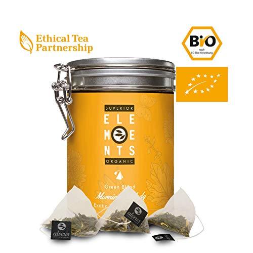 alveus® Morning Melody Organics Elements: Teemischung mit grünem Tee, Pai Mu Man, natürliches Aroma, Ringelblume, blauen Kornblumen, Rosenblüten, Dose mit 15 Pyramidenbeutel à 3g