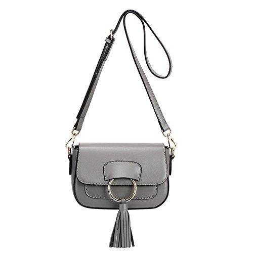 E-Girl Q0816 Damen Leder Handtaschen Satchel Tote Taschen Schultertaschen Grau
