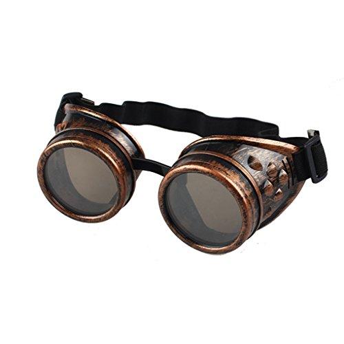 Ba Zha Hei  Sonnenbrille gotisch Jahrgang BrilleVintage Style Steampunk Brille Schweißen Punk Brille Cosplay/Gelb Vintage Sonnenbrille im 60er Style mit trendigen bronzefarbenden Brille (rot)