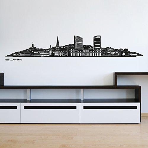 Wandkings Skyline Wandaufkleber Wandtattoo - 125 x 30 cm in schwarz - Deine Stadt wählbar - Bonn