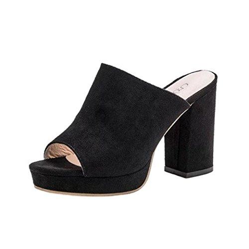 Fuibo Elegant Sandalette Damen Frauen Platz High Heels Slipper Flip Flop Sandalen Fisch Mund Schuhe (39, Schwarz) (Heel Gladiator-sandalen)