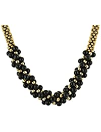 CHICAS Black Pearl & Gold Beads Chain Necklace For Casual & Party Wear