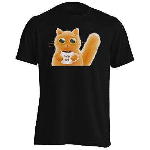 Cat Coffee primo gatto e amanti del caffè novità divertente Uomo T-shirt mm44m Black