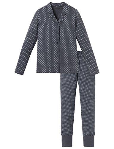 Schiesser Mädchen Pyjama lang Zweiteiliger Schlafanzug, Grau (Graphit 207), 152 (Herstellergröße: S)