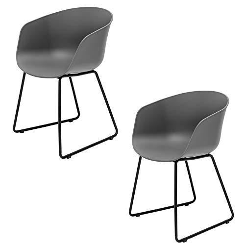 Invicta Interior 2er Set Moderner Schalen Gartenstuhl Ibiza grau mit schwarzem Gestell wetterfest Stuhl Esszimmerstuhl Outdoor -