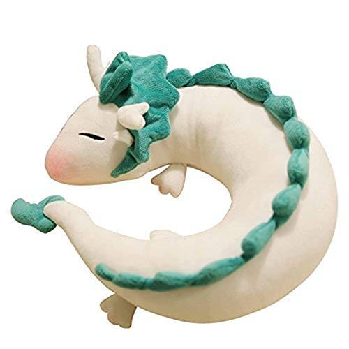 Neugeborenen Drachen Kostüm - U-förmiges Kissen in U-Form, süßes weißes Drachen-Nackenkissen aus Plüsch