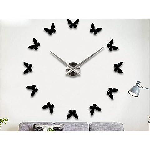 GYN Continental creativo acrilico decorazione DIY Orologio minimalista farfalla Wall Sticker Orologio artistico decorazione Oggettistica per la casa , black - Primo Anno Sticker Calendario