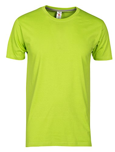 T-Shirt Da Lavoro Maglietta Manica Corta Girocollo 100% Cotone Payper Sunset, Colore: Verde Acido, Taglia: 2XL