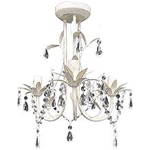 lmpara de techo colgante araa de cristal elegante blanco