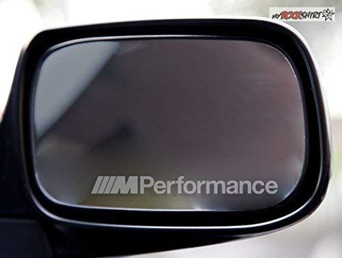 myrockshirt 2 x Kompatibel für BMW M Performance Silber für Außenspiegel Spiegel Scheibe Glas Milchglas Frost Frostfolie Effekt Frost Milch Gravur Aufkleber aus Hochleistungsfolie für alle gl