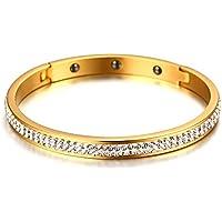OMZBM Edelstahlarmband Genoppter Stulpe-Armband Für Frauen-Mädchen-Funkelnde Rhinestones Armband-Schmuck 6Mm 3 Farben